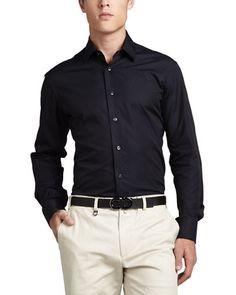 Gancini Tonal Woven Sport Shirt, Navy by Salvatore Ferragamo at Neiman Marcus.