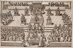 The States General at Orleans, 1560. The letters in the plate each signify a particualr figure: A: the King; B: the Queen-Mother; C: the King's brother; D: the King's sister; E: the King of Navarre; F: the Duchess of Ferrara; G: the Duke of Guise (Grand Chamberlain); H: princes; I: cardinals; K: the Constable of France; L: the Chancellor; M: the marshals; N: privy councillors; O: knights; P: the four secretaries of the Estates; S: clergy; T: the Tiers-Etat; V: nobles; X: Quintin, spokesman…