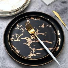 Marble Phnom Penh Ceramic Western Plate Nordic Salad Plate Ins Inlay Gold Pattern Marble Pattern Steak Stew Dinner Dish Home Hotel Ceramic Food Dish Kitchen Items, Kitchen Decor, Kitchen Design, Kitchen Things, Marble Plates, Ceramic Plates, Phnom Penh, Dinner Sets, Dinner Ware