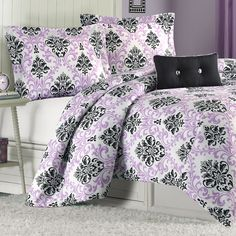 Mizone Katelyn Twin XL Comforter Set Purple for students living in dorm rooms or apartments at college or boarding school, on campus or off.