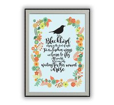 Blackbird Lyrics. A perfect typographic artwork for The Beatles fan. A unique gift for a musician, friends, mom, dad. Add some Beatles music to your Room Decor.  Print size and pricing information are located in the dropdown menu of this listing  All prints are produced when you place an order (on-demand) to avoid waste and keep our business sustainable. I produce it, package it, and ship it to you - worldwide.  MonoMotto prints using a Epson Stylus Pro with Enhanced Matte archival paper and…