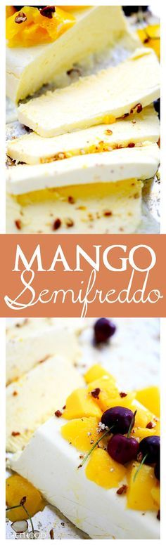 Mango Semifreddo | www.diethood.com | Bright, delicious mango meets luscious and creamy ice cream cake! No ice cream maker needed! So light and luscious, this makes a great summer dessert!