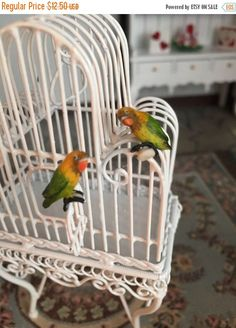 SALE Miniature Love Birds, Green and Yellow Birds, Set of 2, Dollhouse Miniatures, 1:12 Scale, Mini Birds, Lovebirds, Miniature Animal Figur by BitsyNest on Etsy https://www.etsy.com/listing/507034455/sale-miniature-love-birds-green-and