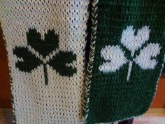 Handmade Double Knit Reversible Shamrock Scarf by SpindleCityKnits