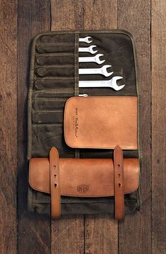 These are shots of the Deux X Makr Tool Roll, a collaboration between Australian handbuilt motorcycle outfit Deus Ex Machina and Florida-based bag manufacturer Makr Carry Goods. I have a lot of time for this Deus Ex Machina, Fiat 500, Crea Cuir, Tool Roll, Cordless Circular Saw, Motorcycle Outfit, Motorcycle Tool Bag, Leather Projects, Tool Storage