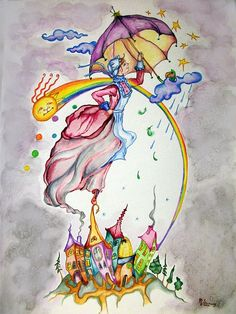 """Mary Poppins"" original watercolor illustration from artist Marina Sciascia (USA)"