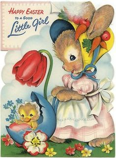 Vintage Easter Greeting Card - Flocked BUNNY AND CHICK