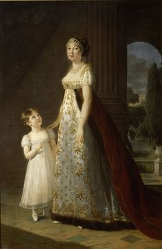 Portrait of Caroline Murat and her daughter Letizia, painted in 1807 by Elisabeth Vigée-Lebrun. Madame Murat wears the formal red train of court dress over her high-waisted gown. - Wikipedia, the free encyclopedia