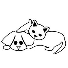 Vetor: Cute cat and dog silhouettes