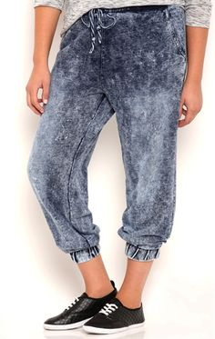 5eede8491a4 Plus Size Acid Wash Denim Knit Jogger Pants