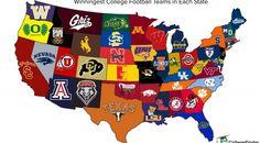 Map of winningest college football team in each U. College Football Map, Sec Football, Football Team Logos, Football Quotes, Ohio State Football, Football Program, National Football League, American Football, Sports Logos