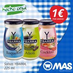 ¿Tienes ya la cena de hoy? Te damos 3 posibles combinaciones con las salsas Ybarra de Roquefort, Alioli y Cocktail. ¿Con cuál te quedas?  #Oferta hasta el 26 de febrero en Supermercados MAS: 1€