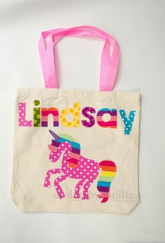 Girls Personalized Tote Bag, Rainbow Unicorn Name Bag, Canvas Tote, Up to 7 Letters, Childrens Canvas Bag