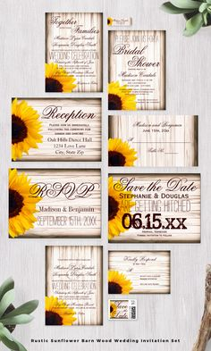 Rustic Country Sunflower Barn Wood Wedding Invitation Set. Invitation prices are 40% OFF when you order 100+ Invites.  These are great for a country or rustic wedding with sunflowers.  #wedding #sunflowers