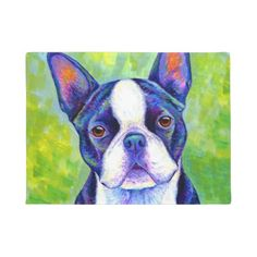 Shop Colorful Boston Terrier Dog Kitchen Towels created by lioncrusher. Dog Throw, Throw Pillows, Dog Door Mat, Door Mats, Boston Terrier Dog, Stone Coasters, Original Artwork, Original Paintings, Your Pet