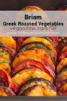 Briam or Briami is a wonderful Mediterranean dish packed with veggies and flavor! It's a traditional Greek dish, and usually enjoyed with feta cheese, crusty bread, and olives. Briam (Greek Vegetable Bake) Little Su Medeteranian Recipes, Side Dish Recipes, Vegetable Recipes, Cooking Recipes, Recipes For Vegetables, Amish Recipes, Dutch Recipes, Cooking Tips, Vegetarian Recipes