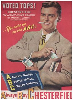 Handsome Joe College in 1947 Chesterfield Cigarettes Ad #Chesterfield