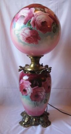 Antique Gone with The Wind Parlor Lamp w Hand Painted Milk Glass Shade | eBay