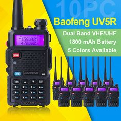 10 pcs/lot baofeng uv-5r walkie talkie vhf 136-174 MHz & uhf 400-520 MHz UV5R dual band dual layar dua arah radio Amatir radio
