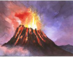 Popular items for volcano watercolor on Etsy