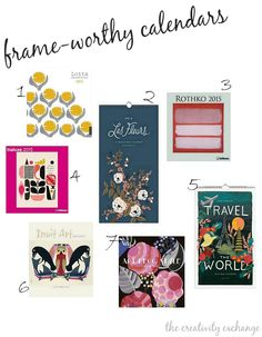 2015 Wall art calendars that are perfect for framing and creating a gallery wall.  The Creativity Exchange