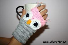 crochet owl gloves pattern | How to crochet Owl Wrist Warmer or Fingerless Mittens | The Art of ...