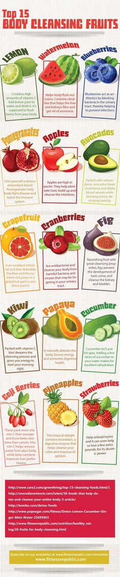 15 Body Cleansing Fruits : Fruit fasts or cleanses are said to allow your digestive system to detoxify, get rid of toxins and wastes, and help you to naturally restore harmony and balance to your entire body. In this infographic found on Pinterest, we are introduced to what are said to be the Top 15 Body [�