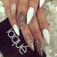 Laque Nail Bar | White Stiletto Acrylic Nails w/ Brown Glitter & Rhinestones