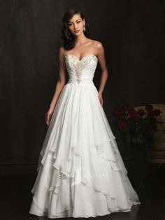 Beaded Sweetheart Strapless Ruched Bodice A-line Layered Skirt Chiffon Wedding Dress