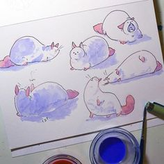 °EN°  These are some doodles of a chubby cat that I did as part of my #SketchbookSummer #Day6 This is turning out to be a really fun challenge. I ticked all the boxes on this one: It is drawn from imagination (no reference) and I used watercolours in it. I've mostly been doing gesture drawing and other ugly looking stuff, that's why I haven't posted anthing about it till now. But I shall be doing some characters and other fun stuff to show you this week. . . . . °SP°  Un gato gordito posando…