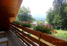 View from the 3rd balcony. The balcony is 5 meters wide by 1,35 meters deep (6,5 square meters). It's facing west and has nice views of the hills and mountains of the Slovenian Alps.