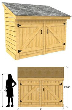 Free small garden shed plan. Can be used for firewood, tools or general storage…. Free small garden shed plan. Small Wood Shed, Small Shed Plans, Wood Shed Plans, Free Shed Plans, Small Sheds, How To Build Small Garden Shed, Bicycle Storage Shed, Wooden Storage Sheds, Outdoor Storage Sheds