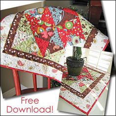 """Download Free! """"It's Hip to be Square"""" Table Topper Sewing Pattern   FREE PATTERN CLUB   YouCanMakeThis.com"""