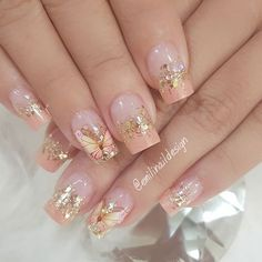 French Nail Designs, Pretty Nail Designs, Simple Nail Art Designs, Pretty Nail Art, Pink Toe Nails, Polygel Nails, Cute Nails, Elegant Nail Art, Short Nails Art