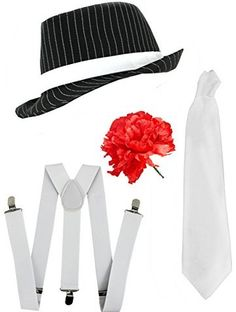 GANGSTER SET FANCY DRESS ACCESSORY COSTUME DELUXE KIT BLACK OR WHITE PINSTRIPE TRILBY HAT + WHITE BRACES + WHITE TIE MOB GANGSTER MEN AL CAPONE