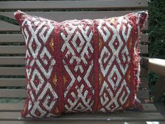 Traditional Moroccan Cushion Cover Reds 100% Wool Handmade