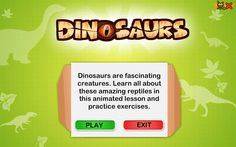 Dinosaurs - Game and Lesson Plan for Kids about Dinasours