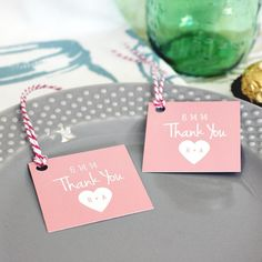 Custom wedding favor tags with pink heart #personalized #tags #pink