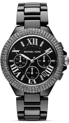 Michael Kors Camille Glitz Ceramic Chronograph Ladies Watch #MK5844