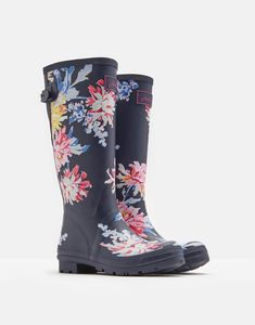 Printed Navy Whitstable Floral Rain Boots | Joules US