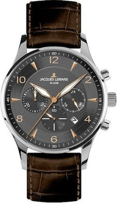 Jacques Lemans 1-1654F Men's Watch Chronograph Grey Dial Brown Leather Strap