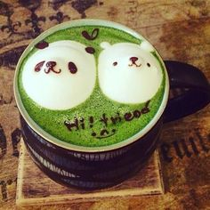 Bear couple art 😍😍😍green and creamy 💚🍵💚😊I think we all love that thick green and creamy matcha latte for our dinner right?Photo repost from @cute._food Check @kenkotea for more amazing matcha treats 🍵  #matcha #matchacake #matchaicecream #matchaparfait #matchatiramisu #matchapics #matcharecipes