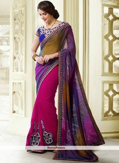 Pink Shaded Printed Faux Georgette Saree