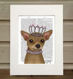 Chihuahua & Tiara Book Print