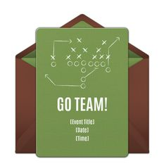 Customizable Football Plays online invitations. Easy to personalize and send for a party. #punchbowl