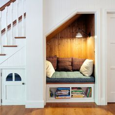 Reading Nook Under The Staircase Design Ideas, Renovations & Photos