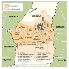 A detailed Map of Volnay, Burgundy @Wines of France