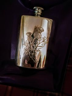 Exquisite craftsmanship from Edwin Blyde of Sheffield, England established in the 18th century - Pewter Whisky Flask - visit my website to see more photos and description.