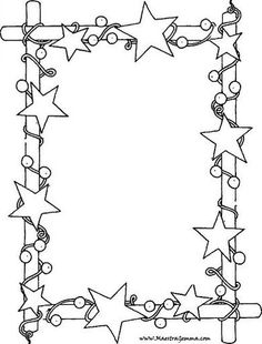 Star border frame coloring page. Christmas Border, Noel Christmas, Christmas Colors, Christmas Decorations, Xmas Crafts, Diy And Crafts, Crafts For Kids, Paper Crafts, Christmas Activities