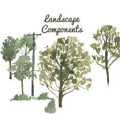 Aquarell gemalt Landschaft Clip Art Tree von DigitalPressCreation